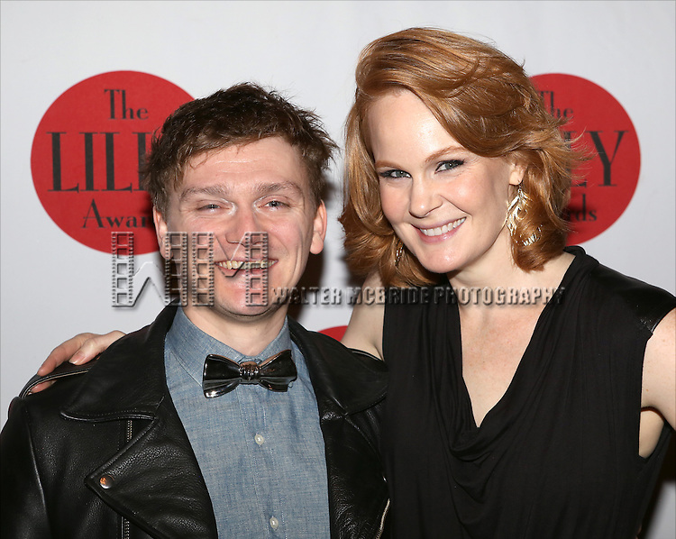 Adam Cochran and Kate Baldwin backstage at The Lilly Awards Broadway Cabaret'   at The Cutting Room on November 9, 2015 in New York City.