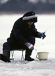 Ice fisherman on Lake, Towada, in the Northern most tip of Honshu, Japan. (Jim Bryant Photo)