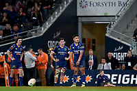 Josh Ioane of Otago kicks for goal during the 2018 Mitre 10 Cup Championship rugby semifinal between Canterbury and Counties Manukau at Forsyth Barr Stadium in Dunedin, New Zealand on Saturday, 20 October 2018. Photo: Joe Allison / lintottphoto.co.nz