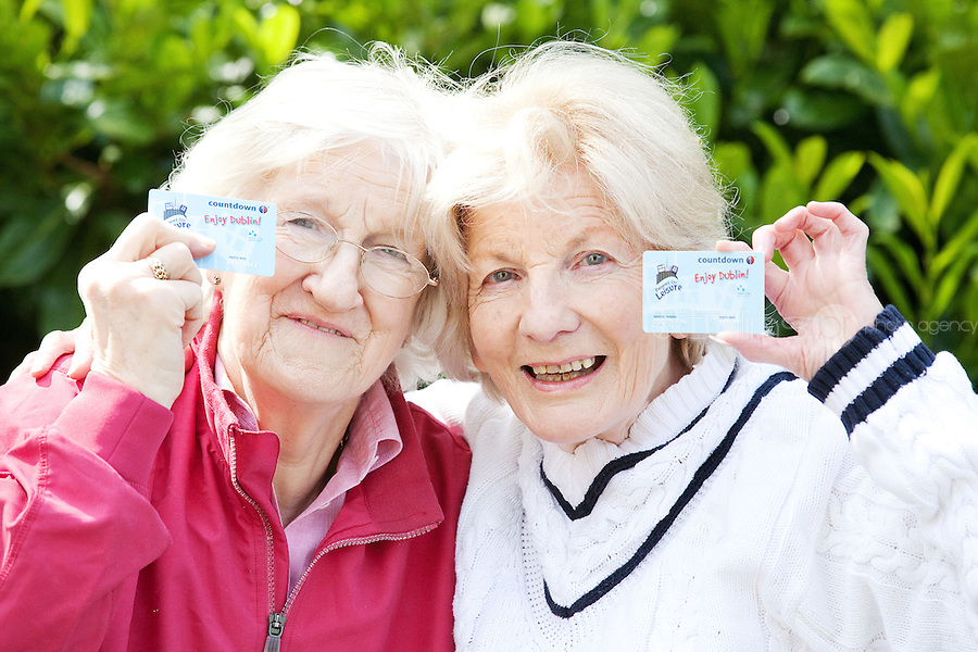 NO REPRO FEE. 2/5/2011. LOVELY LADIES CELEBRATE FOUR YEARS OF PASSPORT FOR LEISURE. Ursula O'Donovan and Margaret Byrne are pictured in Merrion Square Park, Dublin celebrating the 4th anniversary of Passport for Leisure, Ireland's first and largest discount card scheme specifically for people aged 55 and older. The scheme offers users free access to all Dublin City Council Leisure Centres and Swimming Pools, as well as a range of discounts for recreational and leisure activities in Dublin City including eating out, golf, pitch & putt, travel, shopping and cultural events. Applications forms are available from www.passportforleisure.ie or 01 618 5000. Picture James Horan/Collins Photos