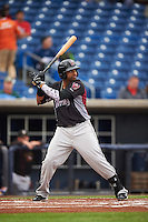 Wisconsin Timber Rattlers third baseman Sthervin Matos (9) at bat during the first game of a doubleheader against the Quad Cities River Bandits on August 19, 2015 at Modern Woodmen Park in Davenport, Iowa.  Quad Cities defeated Wisconsin 3-2.  (Mike Janes/Four Seam Images)