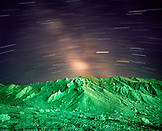 USA, California, mountain with long exposure of stars, Death Valley National Park