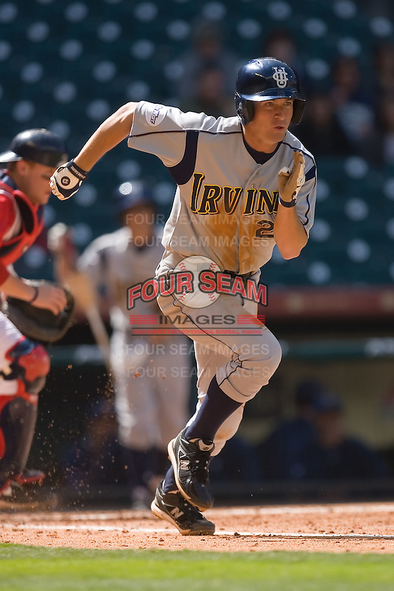 Casey Stevenson #27 of the UC-Irvine Anteaters hustles down the first base line versus the Houston Cougars in the 2009 Houston College Classic at Minute Maid Park February 28, 2009 in Houston, TX.  The Anteaters defeated the Cougars 13-7. (Photo by Brian Westerholt / Four Seam Images)