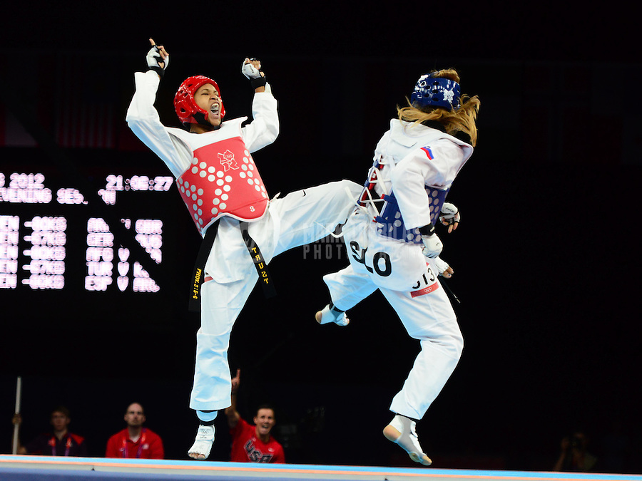 Aug 10, 2012; London , United Kingdom; Paige McPherson (USA), left, against Franka Anic in the women's 67kg bronze medal final during the London 2012 Olympic Games at ExCeL - South Arena 1. McPherson would win the match to earn a bronze medal. Mandatory Credit: Mark J. Rebilas-USA TODAY Sports