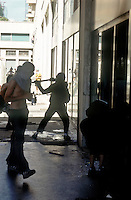 genova luglio 2001, proteste contro il g8. devastazione di una banca --- genoa july 2001, protests against g8 summit. devastation of a bank