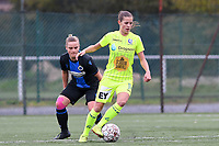 20191123 – BRUGGE, BELGIUM : Brugge's Chelsey Vanhooren (left) pictured watching Gent's Shari Van Belle (r)  during a women soccer game between Dames Club Brugge and K AA Gent Ladies on the ninth matchday of the Belgian Superleague season 2019-2020 , the Belgian women's football  top division , saturday 23 th November 2019 at the Jan Breydelstadium – terrain 4  in Brugge  , Belgium  .  PHOTO SPORTPIX.BE | DAVID CATRY