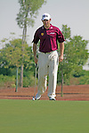 Lee westwood eyes up his putt on the 3rd.on day one of the Dubai World Championship on the Earth Course at the Jumeirah Golf Estate, Dubai..Picture Fran Caffrey/www.golffile.ie.