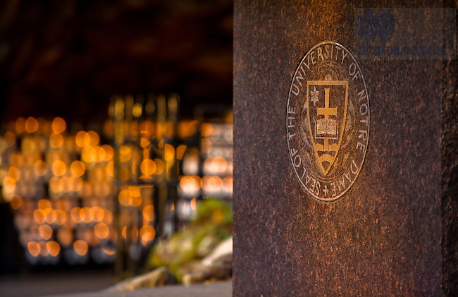 University seal on the altar at the Grotto...Photo by Matt Cashore/University of Notre Dame