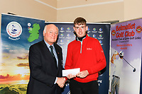 Jimmy Duggan (Hon Sec Connacht GUI) presents 5th prize to Adam Smith (Mullingar) during the prize ceremony of the Connacht U18 Boys Open 2018 on Carne Golf Links at Belmullet Golf Club on Sunday 6th April 2018.<br /> Picture:  Thos Caffrey / www.golffile.ie<br /> <br /> All photo usage must carry mandatory copyright credit (&copy; Golffile | Thos Caffrey)