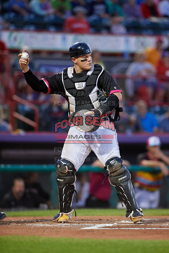 Erie Piñatas catcher Kade Scivicque (20) during an Eastern League game against the Las Ardillas Voladoras de Richmond on August 28, 2019 at UPMC Park in Erie, Pennsylvania.  Richmond defeated Erie 4-3 in the second game of a doubleheader.  (Mike Janes/Four Seam Images)