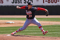 Peoria Chiefs pitcher Will Anderson (21) delivers a pitch during a game against the Wisconsin Timber Rattlers on April 25th, 2015 at Fox Cities Stadium in Appleton, Wisconsin.  Wisconsin defeated Peoria 2-0.  (Brad Krause/Four Seam Images)