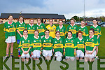 Kerry 1 team that played in the Cork/Kerry under 14 football blitz in Rathmore on Saturday front row l-r:  Karen Dineen, Andrew McCarthy, Aisling O'Connell, Jane O'Sullivan, Courtney O'Donoghue, Laura Murphy, Annie Potts. Back row: Niamh Hickey, Noriena O'Callaghan, Laura Quinn, Ellie Davies, Sophie Smith, Niamh Casey, Christine McAulliffe, Aoibhinn Dobbins and Orla Randles