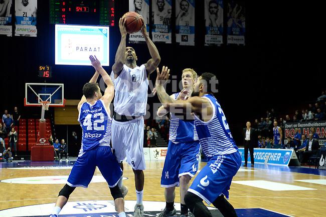 GRONINGEN - Basketbal, Donar - Landstede Zwolle, Supercup seizoen 2017-2018, 05-10-2017, Donar speler Jason Dourisseau met Landstede speler Noah Dahlman