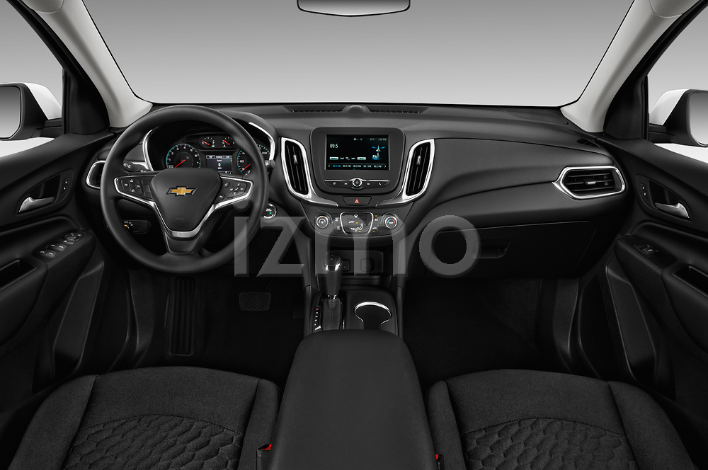 Stock photo of straight dashboard view of a 2019 Chevrolet Equinox LT 5 Door SUV
