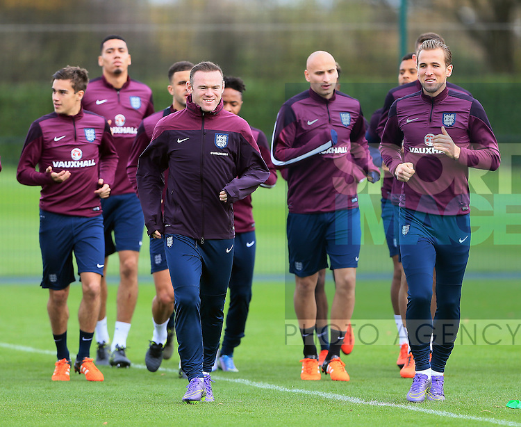England's Wayne Rooney and Harry Kane during training<br /> <br /> England Training - Tottenham Hotspur Training Ground - England - 16th November 2015 - Picture David Klein/Sportimage