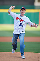 Buffalo Bills head coach Sean McDermott throws out the ceremonial first pitch before a game between the Pawtucket Red Sox and Buffalo Bisons on May 19, 2017 at Coca-Cola Field in Buffalo, New York.  Buffalo defeated Pawtucket 7-5 in thirteen innings.  (Mike Janes/Four Seam Images)