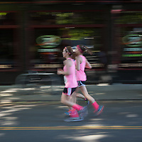 Girls Running Downtown Seattle Streets, Washington State, WA, America, USA.