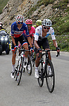 In this photo provided by PhotoSport International shows Tour de France 2019 Stage 19 Fri July 26 St Jean de Maurienne - Tignes 123kms on col Iseran Alt 2764m / 9070ft EGAN BERNAL (Col) Ineos in best young riders White Jersey leads Warren Barguil (Fra Chp) Bernal decalared the winner after stage cut short due to landslide in snow storm