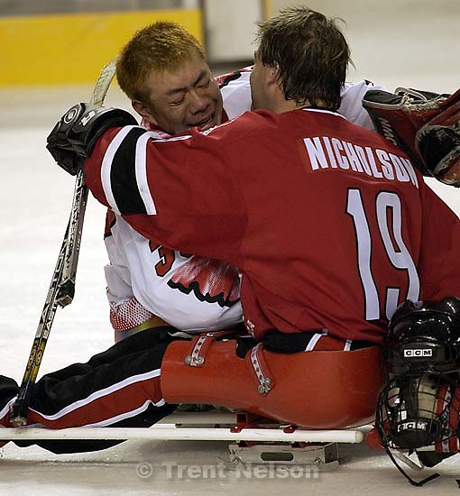 Canada vs. Japan, Sledge Hockey, 2002 Winter Paralympic Games Tuesday afternoon at the E Center. ; 03.12.2002, 4:52:00 PM<br />