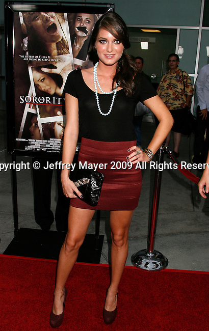 """HOLLYWOOD, CA. - September 03: Justine Wachsberger arrives at the Los Angeles premiere of """"Sorority Row"""" at the ArcLight Hollywood theater on September 3, 2009 in Hollywood, California."""