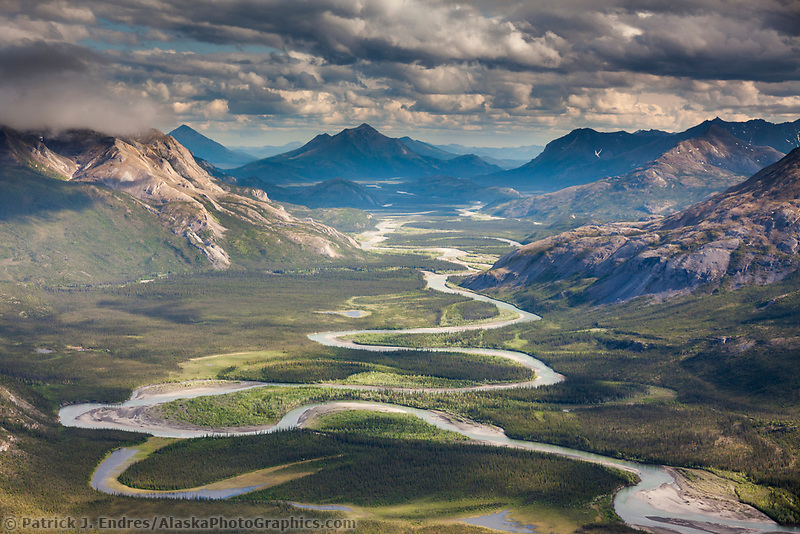 Aerial of the Alatna River, Brooks Range mountains, Arctic, Alaska.