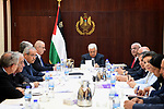 Palestinian President Mahmoud Abbas chairs a meeting of Executive Committee of the Palestine Liberation Organization (PLO) in the West Bank city of Ramallah on May 30, 2017. Photo by Osama Falah