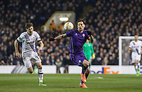 Nikola Kalinic of Fiorentina heads away from Ben Davies of Tottenham Hotspur during the UEFA Europa League 2nd leg match between Tottenham Hotspur and Fiorentina at White Hart Lane, London, England on 25 February 2016. Photo by Andy Rowland / Prime Media images.