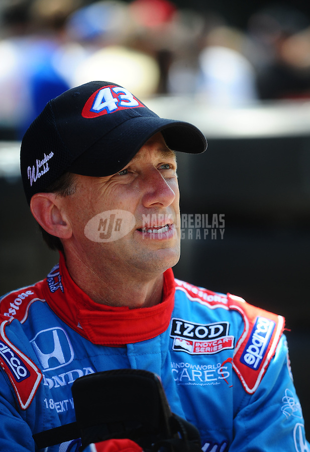 May 28, 2010; Indianapolis, IN, USA; IndyCar Series driver John Andretti during carb day prior to the Indianapolis 500 at the Indianapolis Motor Speedway. Mandatory Credit: Mark J. Rebilas-