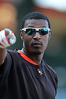 Baltimore Orioles outfielder Adam Jones #10 before a game against the Los Angeles Angels at Angel Stadium on August 20, 2011 in Anaheim,California. Los Angeles defeated Baltimore 9-8.(Larry Goren/Four Seam Images)