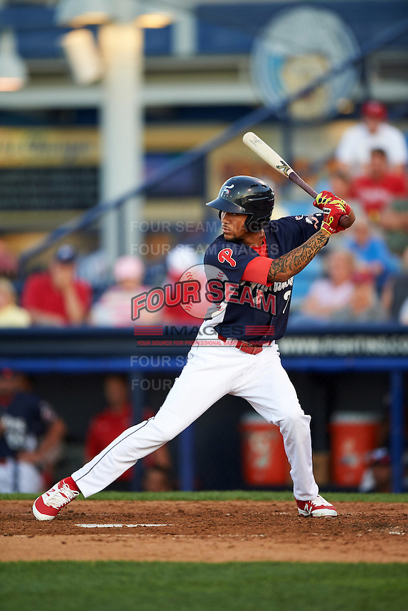 Reading Fightin Phils shortstop J.P. Crawford (2) at bat during a game against the New Britain Rock Cats on August 7, 2015 at FirstEnergy Stadium in Reading, Pennsylvania.  Reading defeated New Britain 4-3 in ten innings.  (Mike Janes/Four Seam Images)