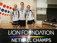 Umpires for the Lion Foundation Netball Championship final match, day five, MoreFM Arena, Dunedin, New Zealand, Friday, October 04, 2013. Credit: Dianne Manson/©MBPHOTO /Michael Bradley Photography.