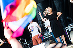 Madrid Mayor Manuela Carmena and the Gay Pride flag during the protest Madrid Pride 2016. July 02. 2016. (ALTERPHOTOS/Borja B.Hojas)