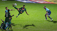 Jake Jervis of Plymouth Argyle tries an overhead shot at goal in the dying moments during the Sky Bet League 2 match between Wycombe Wanderers and Plymouth Argyle at Adams Park, High Wycombe, England on 14 March 2017. Photo by Andy Rowland / PRiME Media Images.