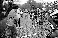 Mark Cavendish (GBR/Ettix-QuickStep) reaches the top of the Kluisberg with Elia Viviani (ITA/Sky) by his side<br /> <br /> <br /> 67th Kuurne-Brussels-Kuurne 2015