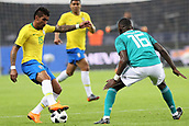 27th March 2018, Olympiastadion, Berlin, Germany; International Football Friendly, Germany versus Brazil; Antonio Rudiger (Germany) coveres the break from Paulinho  (Brazil)