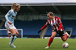 Katie Wilkinson of Sheffield United runs at Marisa Ewers of Aston Villa during the The FA Women's Championship match at the Proact Stadium, Chesterfield. Picture date: 12th January 2020. Picture credit should read: James Wilson/Sportimage
