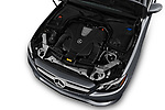 Car stock 2018 Mercedes Benz E-Class E400 2 Door Coupe engine high angle detail view