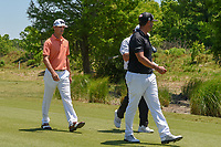 Billy Horschel (USA), Jason Dufner (USA), and Scott Piercy (USA) head down 2 during Round 4 of the Zurich Classic of New Orl, TPC Louisiana, Avondale, Louisiana, USA. 4/29/2018.<br /> Picture: Golffile | Ken Murray<br /> <br /> <br /> All photo usage must carry mandatory copyright credit (&copy; Golffile | Ken Murray)
