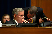 United States Representative Mark Meadows (Republican of North Carolina) receives information during the Committee on Oversight and Reform hearing on Capitol Hill in Washington D.C., U.S. to markup a resolution recommending that the House of Representatives find the Attorney General and the Secretary of Commerce in contempt of Congress on June 12, 2019.<br /> <br /> Credit: Stefani Reynolds / CNP