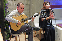 Flamenco guitarist and singer,  Paco Lara and Rosi Borja, performing in Ambrosia, restaurant, San Pedro de Alcantara, Malaga Province, Spain, 9th December 2015, 201512091857<br />