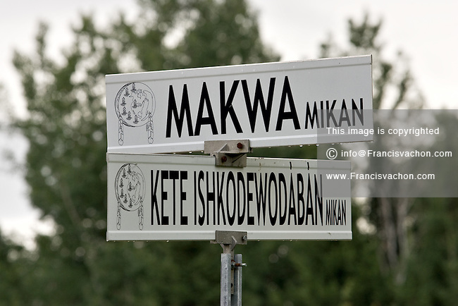 Street signs are pictured at the corner of Makwa Mikan Street and Keteishkodewodaban mikan Street in the Kitigan Zibi Algonquin Native reserve, just west of Maniwaki (Qc) July 29, 2008. Kitigan Zibi (also known as River Desert, and designated as Maniwaki 18 until 1994) is a First Nations Reserve of the Kitigan Zibi Anishinabeg First Nation, an Algonquin band.