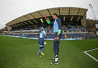 Match day  Mascot hi fives Goalkeeper Jamal Blackman of Wycombe Wanderers ahead of the Sky Bet League 2 match between Wycombe Wanderers and Crawley Town at Adams Park, High Wycombe, England on 25 February 2017. Photo by Andy Rowland / PRiME Media Images.