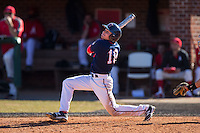 Grant Hoover (18) of the Shippensburg Raiders follows through on his swing against the Belmont Abbey Crusaders at Abbey Yard on February 8, 2015 in Belmont, North Carolina.  The Raiders defeated the Crusaders 14-0.  (Brian Westerholt/Four Seam Images)