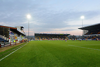 The sun begins to set over the One Call Stadium during the Sky Bet League 2 match between Mansfield Town and Wycombe Wanderers at the One Call Stadium, Mansfield, England on 31 October 2015. Photo by Garry Griffiths.