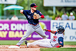 22 July 2018: Louisville Bats infielder Josh VanMeter in action against the Syracuse SkyChiefs at NBT Bank Stadium in Syracuse, NY. The Bats defeated the Chiefs 3-1 in AAA International League play. Mandatory Credit: Ed Wolfstein Photo *** RAW (NEF) Image File Available ***