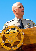 """AJ Alexander/AAP Image by AJ ALEXANDER - Pinal County Sheriff Paul Babeu joined other County Sheriffs at the Arizona State Capitol for a press conference. The sheriffs said they want Attorney General Eric Holder to be held accountable for the lost law enforcement lives in Arizona and Mexico. They demanded the truth from the federal government about operation """"Fast and Furious."""" on Friday October 7, 2011 in the morning in Phoenix, AZ..Photo by AJ Alexander (c)"""