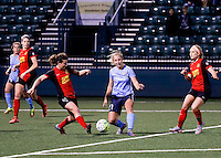 Rochester, NY - May 21, 2016: Western New York Flash midfielder Elizabeth Eddy (4) and Sky Blue FC forward  Leah Galton (21) in action during a National Women's Soccer League (NWSL) match at Sahlen's Stadium. The Western New York Flash go on to win 5-2.