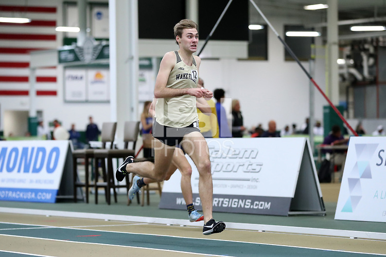 WINSTON-SALEM, NC - FEBRUARY 07: Jack Dailey #12 of Wake Forest University sprints to the finish during the Men's 1 Mile Run at JDL Fast Track on February 07, 2020 in Winston-Salem, North Carolina.