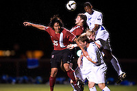 STANFORD, CA - SEPTEMBER 19:  Tim Montgomery of the Stanford Cardinal battles Chris Schuler #4 of the Creighton Bluejays during Stanford's 1-0 loss to Creighton on September 19, 2008 at Laird Q. Cagan Stadium in Stanford, CA. Also pictured is Ryan Imamura #25 of the Stanford Cardinal.