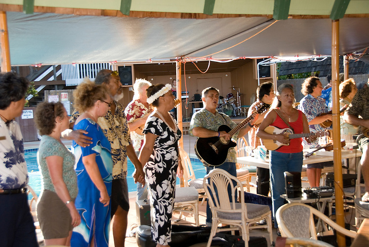 Hawaii: Molokai, Friday night kupuna night entertainment by locals at the Hotel Molokai, with singers, ukulele strummers, hula dancers, and good food and drink. .Photo himolo176-71795..Photo copyright Lee Foster, www.fostertravel.com, lee@fostertravel.com, 510-549-2202